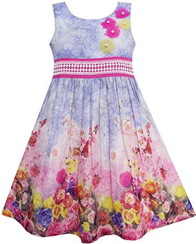 Sunny Fashion Big Girls Dress Tank Rose Garden Flower Print Cotton  Purple  8
