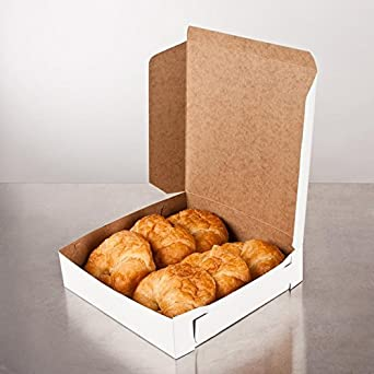 Amazon.com: Lot de 10 Panadería o pastel Box Blanco 10 x 10 ...