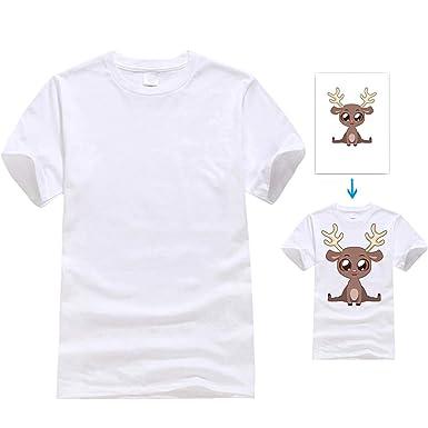 a03c943790f89 UOhost 10PCS White T-Shirts Blank Sublimation T-Shirts Short Sleeve  Christmas DIY Crewneck