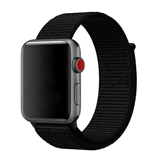For Apple Watch Band 38mm 42mm Soft Nylon Watch Sport Loop Band Adjustable Closure Wrist Strap Breathable Woven Nylon Replacement Strap for Apple Watch Series 3,2,1