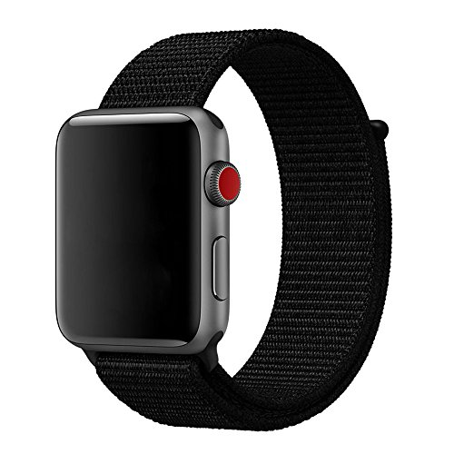 For Apple Watch Band 42mm Soft Woven Nylon Watch Sport Loop Band Breathable Replacement iWatch Band with Adjustable Closure for Apple Watch Nike+ Series 3 2 1,Black