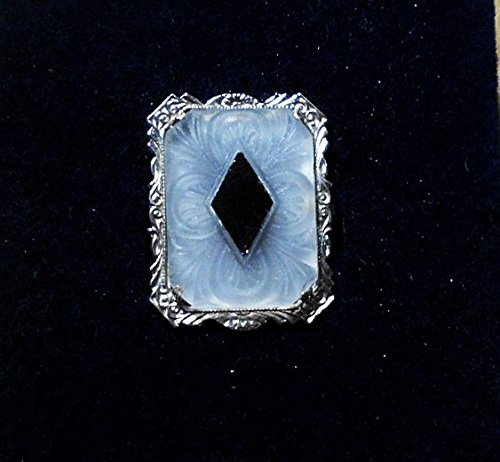Antique Edwardian Art Deco Camphor Glass Brooch with Onyx Glass Diamond Shape Focal in Rhodium Etched Brooch. Handmade Rhodium Plated Necklaces & Converter Pendant Available.