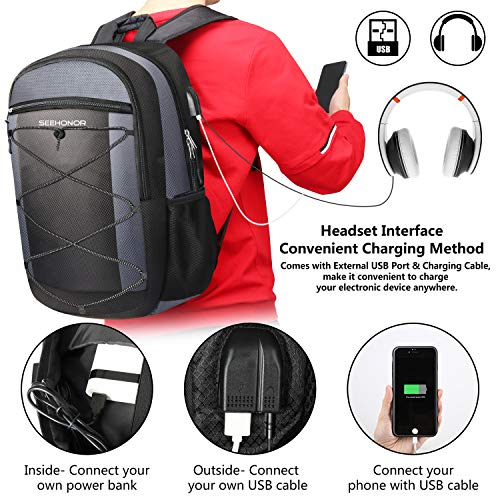 Laptop Backpack, SEEHONOR Travel Laptop Backpack with USB Charging Port, 15.6 Inch Slim Business Computer Backpack for… 2