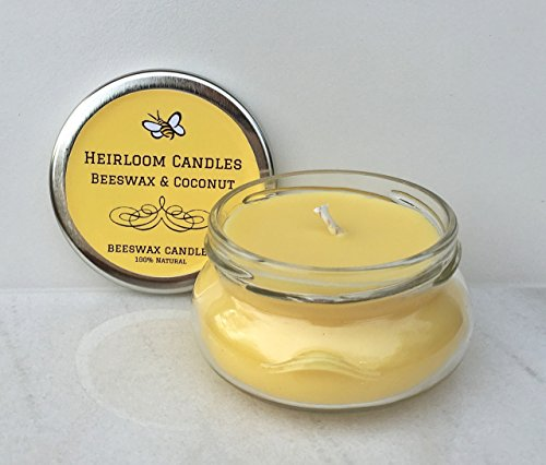 Beeswax Coconut Oil Candle Glass Jar – Unscented – Handmade, 3.3oz
