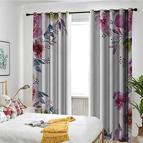 TRTK Living Room Curtains Bedroom Window Blackout Curtains Floral,Flower Background with Florets Blooms Bouquet Romance Bridal Watercolor Art,Fuchsia Green Blue