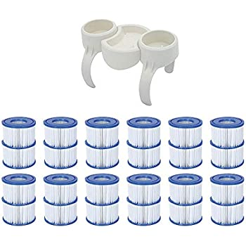 Bestway Plastic SaluSpa Drinks Holder and Snack Tray & Type VI Filters (24 Pack)