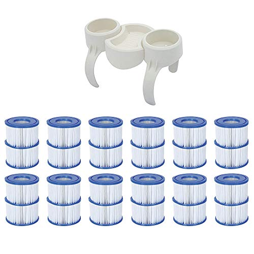 Bestway Plastic SaluSpa Drinks Holder and Snack Tray & Type VI Filters (24 Pack) (Bestway Spa Filter Pump Replacement Cartridge Type Vi)