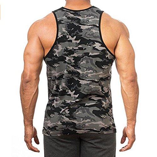 Fit Musculation T Sous vêtements Sport Slim Rond Imprimé Sudation Col Sans Maillot De Homme Elastique Foncé Rera Manches Gris Camouflage shirt Gilet Corps Débardeur nPCT7