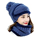 Modelshow Wool Cap Scarf Knit Hat chapeau Faux Fur Plush Top Thick Beautiful With Ear Protection Skin-Friendly Keep Warm In Winter (Royal Blue)