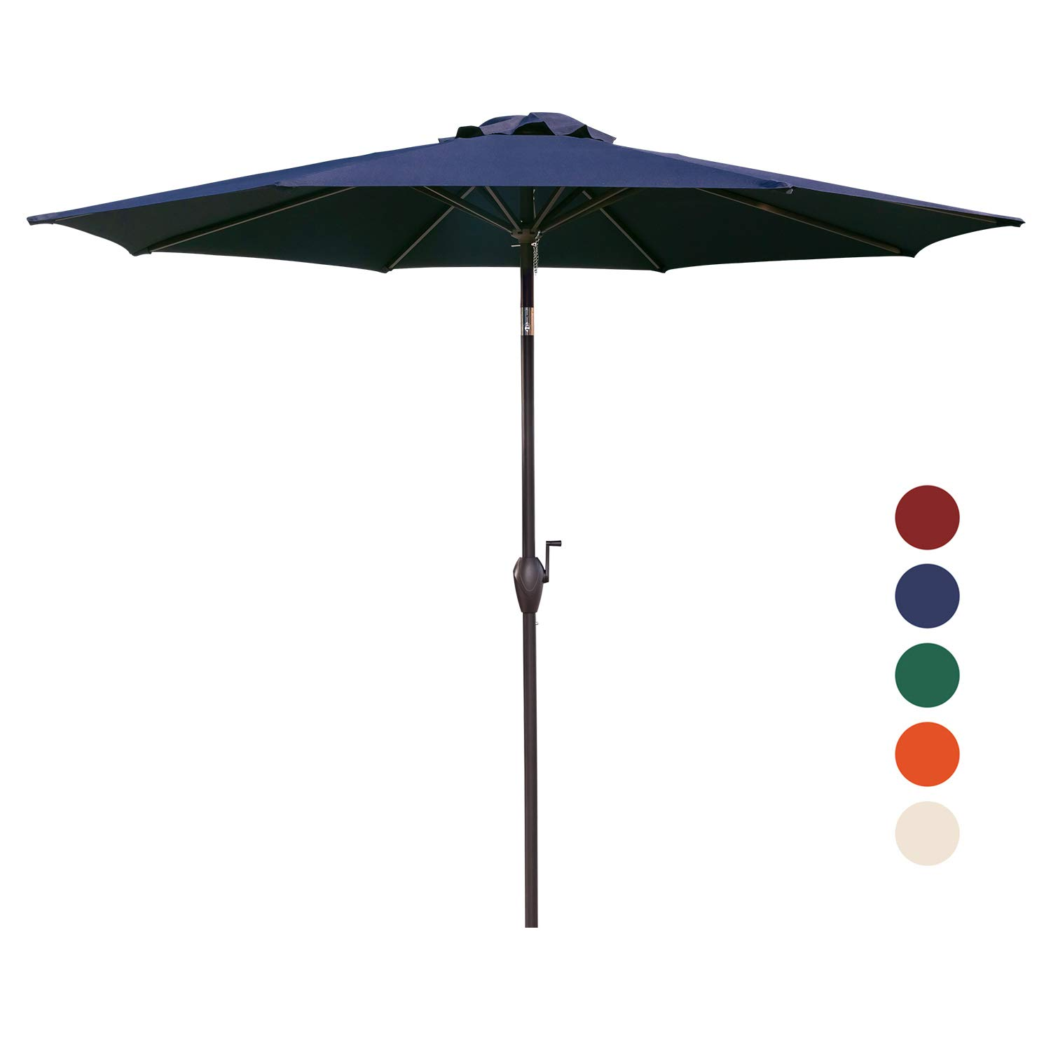 KINGYES 9Ft Patio Table Umbrella Outdoor Umbrella with Push Button Tilt and Crank for Commercial Event Market, Garden, Deck,Backyard Swimming and Pool (Navy)