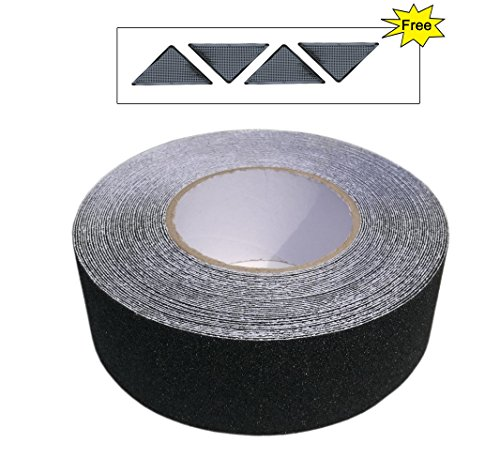 Anti Slip Tape, Non Skid Safety Walk Abrasive Adhesive Tape for Outdoor Indoor Stairs, Steps, Treads, Floors, Decking, High Traction Strong Grip, 2 Inch by 50 Feet with Free Rug Grippers, Black by EONBES