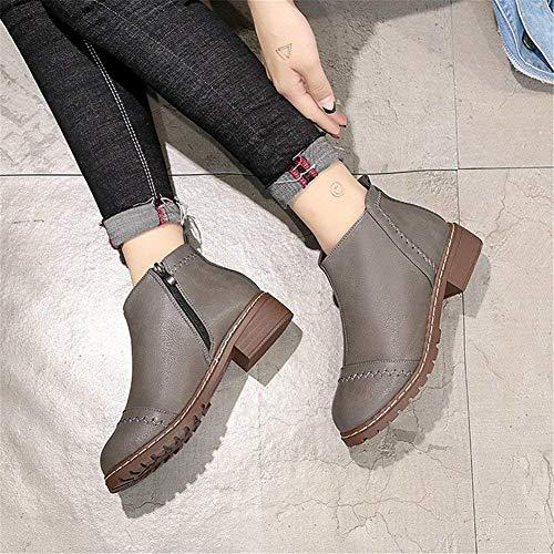 Pour Eu Ronde Shoes Femmes Bottes Flat Zipper 38 Retro Deed Décontractées qZREn4