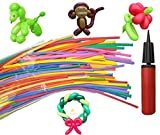 Balloon Animals Kit 100 Pieces 260Q Twisting Animal Balloons with Balloon Pump Magic Latex Balloons for Animal Shape Weddings, Birthdays Clowns, Party Decorations