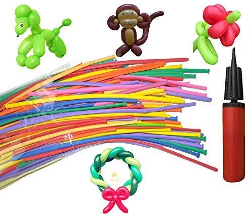 Balloon Animals Kit 100 Pieces 260Q Twisting Animal Balloons with Balloon Pump Magic Latex Balloons for Animal Shape Weddings, Birthdays Clowns, Party Decorations by Hivchinge