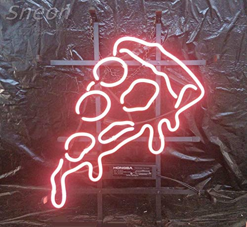 LinC Neon Sign- Pizza Home Decor Light for Bedroom Garage Beer Bar and Nightclub, Real Glass Neon Light Sign for Wall Decor ()