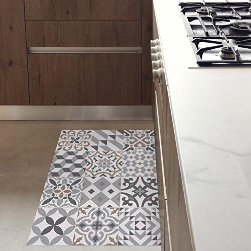 MAMUT Big Design Tapis en Vinyle inspiré du carrelage typique de l Art  Nouveau de Barcelone. Eclectic Grey 60x80cm. Se nettoie Facilement à l Aide  d Une ... 987f2c7663