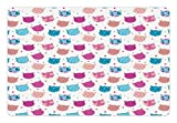 Cat Pet Mats for Food and Water by Lunarable - Girly Pattern with Patchwork Kitten Head Figures Lovely Kids Baby Female Fun Design - Rectangle Non-Slip Rubber Mat for Dogs and Cats - Blue Hot Pink