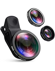 AMIR Camera Lens Kit 0.4X Super Wide Angle Lens + 180° Fisheye Lens & 10X Macro Lens (Attached Together) Clip on 2 in 1 Cell Phone Lens for iPhone 8 7 6s 6 5s & Samsung & Smartphones