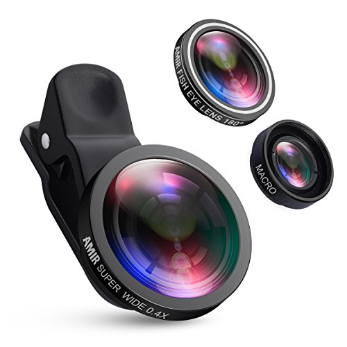 AMIR for iPhone Lens, 0.4X Wide Angle Lens + 180°Fisheye Lens & 10X Macro Lens (Screwed Together), Clip on Cell Phone Lens for iPhone Camera Lens for iPhone 7 Plus, 8, 7, 6s, Samsung & Smartphones