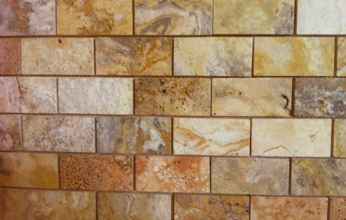 "2x4 Scabos HONED and Unfilled Travertine Mosaic Tile - 6""..."