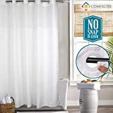 COMFECTO Hookless Shower Curtain with Light-Filtering Mesh Screen and Magnets, [NO SNAP IN LINER] 1 Set of White Hotel Bathroom Curtains