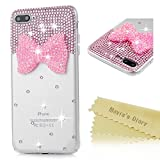 gem bows - iPhone 7 Plus Case (5.5 inch) - Mavis's Diary 3D Handmade Bling Crystal Diamonds Pink Resinous Bow with Shiny Sparkling Rhinestone Gems Full Around Protective Clear Hard PC Cover