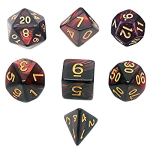 Jiexi Role Playing Dice, Polyhedral 7-Die Set Double Colors DND RPG MTG Board Games
