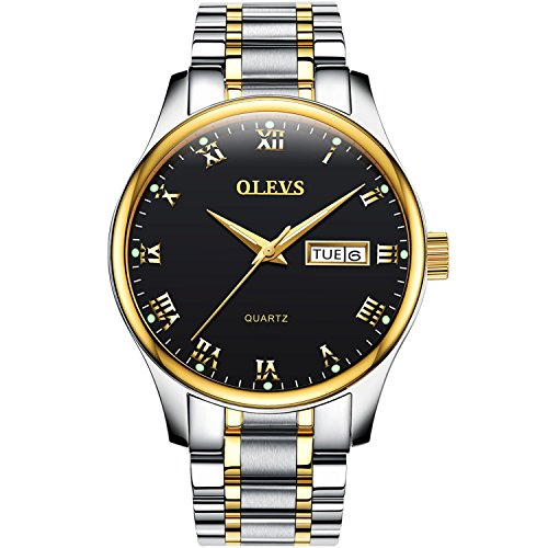 Mens Steel Gold Black Dial (OLEVS Gold Stainless Steel White/ Black Dial Waterproof Luminous Quartz Mens Wrist Watches, Roman Number Week Date Window)