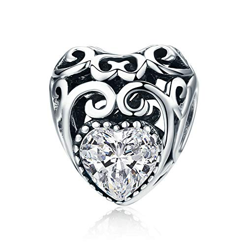 - MOMOFULL Vintage Style Heart Charms 925 Sterling Silver Pendant with Simulated Stones for Women Girls April