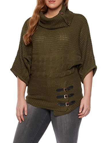 [16122XR-OLV-3X] Womens Plus Size Sweater: Cowl Neck Asymmetrical Buckle Details