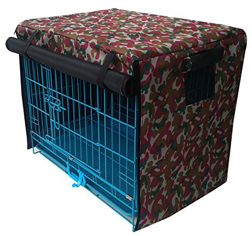 LPET Waterproof Sunscreen Pet Cage Shrouded Drape Windproof Dog Crate Kennels Cover Ventilation Window Open For Animal House(Pink) (M)