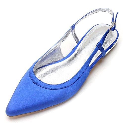 Shoe Made Ivoire Mariage en Chaussures Court fermé Sandales 19 Blue high Toe Elegant Soie Femmes de Taille shoes Satin pour 5047 OgffZq