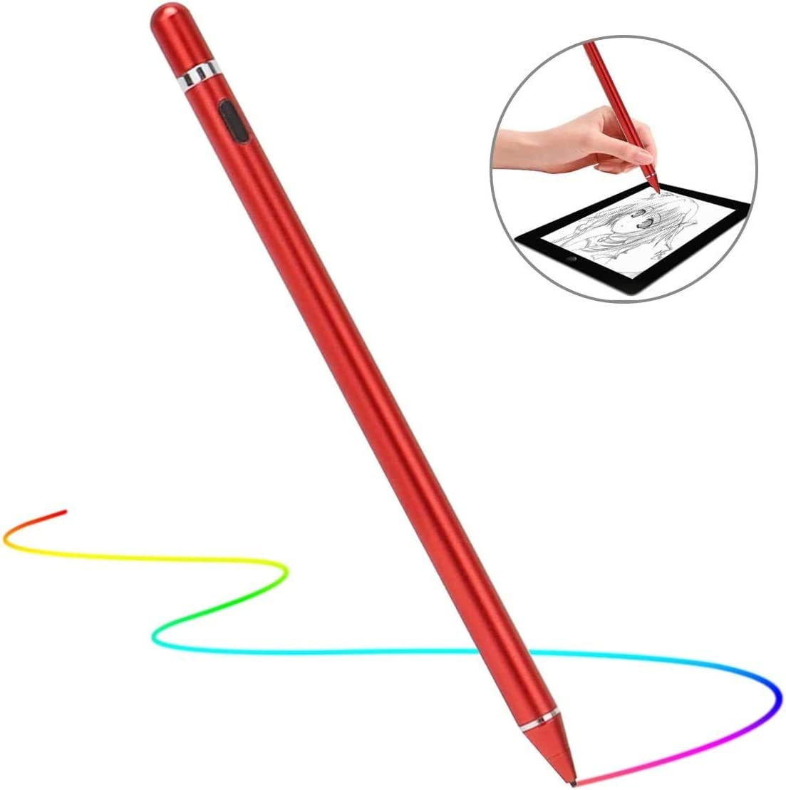 Stylus Pen for Touch Screens, Rechargeable 1.5mm Fine Point Smart Pencil Digital Active Stylus Pen Compatible with iPad and Most Tablet by Mikicat (Red)