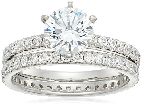 Platinum Pave Diamond Setting - Platinum-Plated Sterling Silver Round Ring Set made with Swarovski Zirconia (1 Carat Center Stone), Size 8