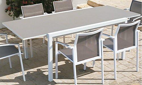 Mesa extensible aluminio blanco Moka Laos 150-220x106 cm: Amazon ...