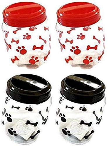Greenbrier Pet Food Treats Plastic Storage Jars, Paws and Bones, Dogs and Cats, 4-jar ()