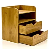 Intriom bamboo 4 Tier Mini Desk Organizer Storage With Drawers 7.5 x 5.1 x 8.2 in (L x W x H)