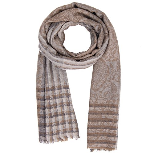 KASHFAB Kashmir Womens Mens Winter Fashion Stripes Scarf, Wool Silk Stole, Soft Long Shawl, Warm Pashmina Brown (Made Scarf In India)