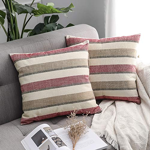 MIULEE Pack of 2 Decorative Classic Retro Stripe Throw Pillow Covers Cotton Linen Modern Farmhouse Pillow Case Red and Coffee Cushion Case for Sofa Bedroom Car 18 x 18 Inch 45 x 45 cm