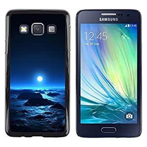 QCASE / Samsung Galaxy A3 SM-A300 / luna espacio azul brillante planeta cosmos alienígenas / Delgado Negro Plástico caso cubierta Shell Armor Funda Case Cover