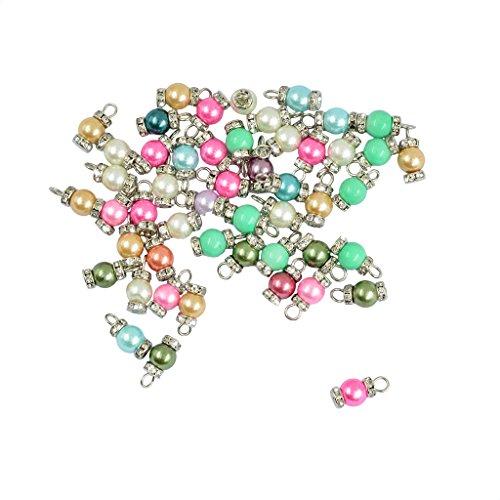 Baosity 50pcs Rhinestone Glass Pearl Charms Pendants Drop Jewellery Making Supplies - - Drop Pearl Glass