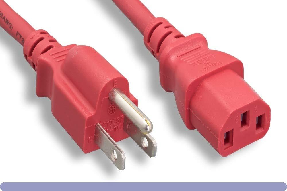 Black 1ft  Computer // Monitor Power Cord 10 Amp 10W1-01201 NEMA 5-15P to C13