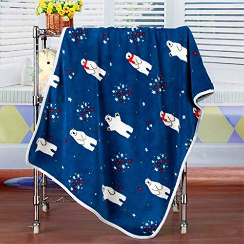 YEARGER 75100cm Polar Bear Cartoon Pattern Coral Fleece Fabric Blanket Summer Air Conditioning Blanket Adult Nap Blanket ()