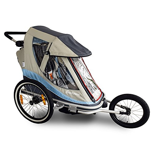 Freetown SUGAR RIDE Two Child Bike Trailer with Jogger Conversion ()