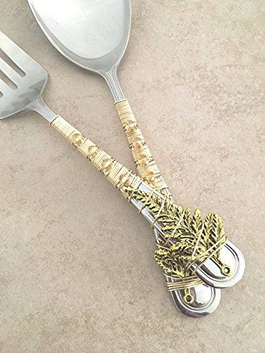 12 Inch Gold Leaf Wrapped Serving Spoon & Fork Set (Leaf Serving Spoon)