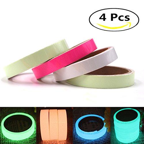 4-Pack Glow in the Dark Tape ,High Luminance Photoluminescent Waterproof Removable Glow Tape Sticker(0.6