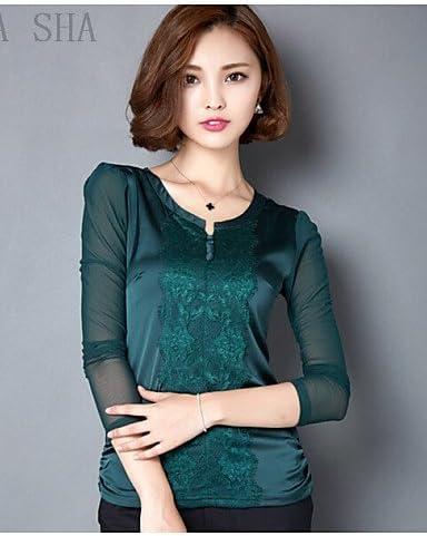 Mujer Camisa Blusa elegante mujer Blusa – Camiseta de mujer – Camiseta de mujer – Rejilla rejilla manga larga cuello en V, color Verde - verde, tamaño XL: Amazon.es: Deportes y aire libre