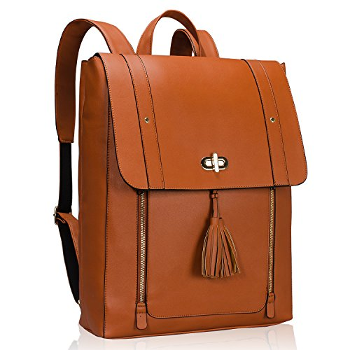 Estarer Women PU Leather Backpack 15.6inch Laptop Vintage College School Rucksack Bag (brown)