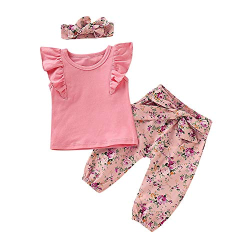 Baby Girls Flying Long Sleeve Romper Tops Denim Jeans High Waist Pants Bow Tie Waistband 2 PCS Outfits (0-6 Months, Pink-Short Sleeve) (2 Pants Piece Months)