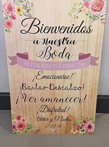 Cartel Bienvenidos a nuestra Boda flores con flores rosas y ...